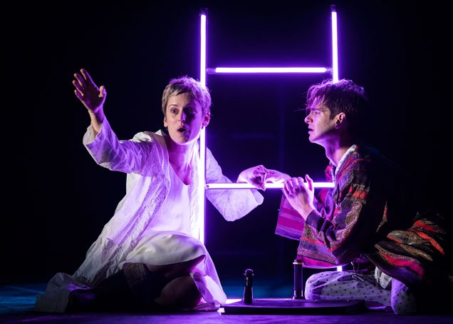 Denise Gough (Harper) and Andrew Garfield (Prior) in Angels in America